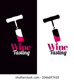 Symbol with illustration of corkscrew and wine drop. Logo for your wine business. Icon. Text example, wine tasting. vector
