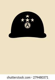 Symbol illustration of a helmet with decorative letter A and stars.