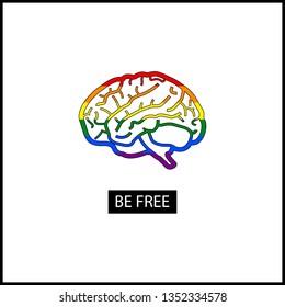 Symbol include flag of LGBT organization. LGBT concept. Be yourself. Sticker, patch, t-shirt print, logo design.Vector illustration