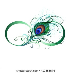 Symbol of infinity with bright, green, artistic peacock feather on white background.