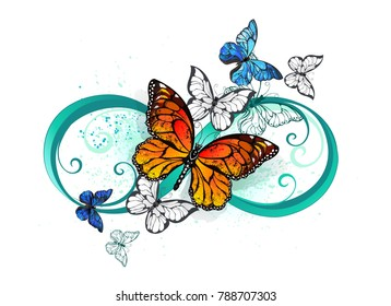 Symbol infinity with realistic butterflies monarchs and morphs on white background.