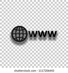 symbol of internet with globe and www. Black glass icon with soft shadow on transparent background