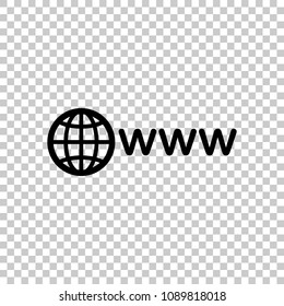 symbol of internet with globe and www. On transparent background.