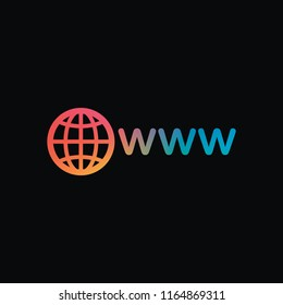 symbol of internet with globe and www. Rainbow color and dark background