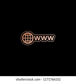 symbol of internet with globe and www. Red gold style on black background