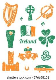Symbol of Ireland vector set in lino style