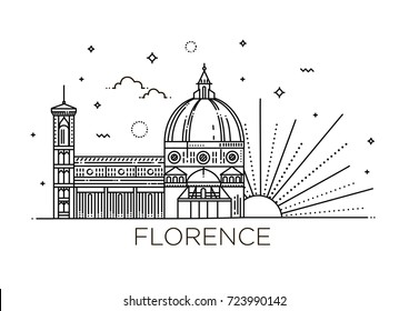 The symbol of Italy, Florence. Modern linear style. Editable strokes. Flat design line vector illustration concept