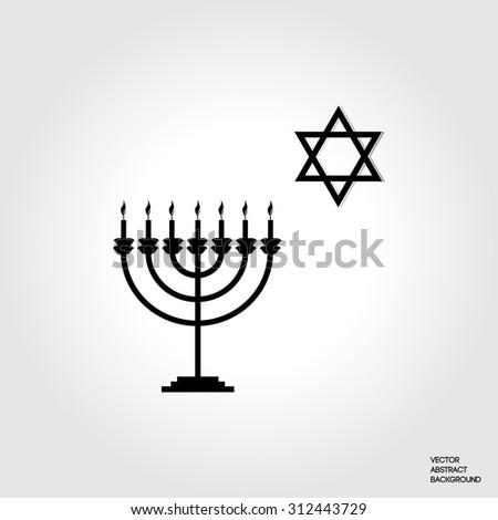 Symbol Judaism Menorah Silhouette Candlestick Seven Stock Vector