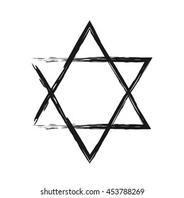 Symbol of Judaism. Star of David painted the broken brush. Isolated single element.
