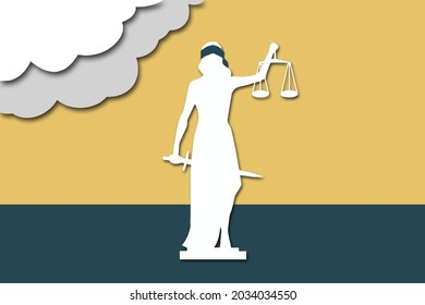 Symbol of justice, law and order. Blind woman holding scales and sword. Vector concept in modern 3d paper cut out style. Eps10 vector illustration.