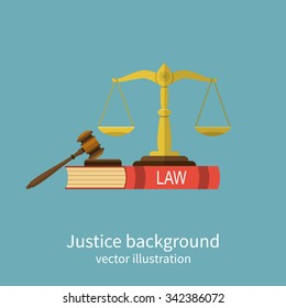 Symbol of law and justice. Concept law and justice. Scales of justice, gavel and book. Vector illustration flat design. For web banners, promotional materials, presentation templates
