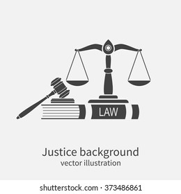 Symbol of law and justice. Concept law. Scales of justice, gavel and book. Vector illustration. Can be used as logo legality.