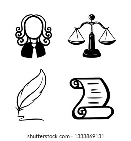 Symbol of law and justice. Conceptual law and justice. Scales of justice, a judge, a pen, a paper roll.