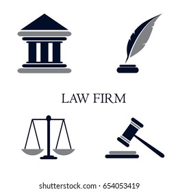 Symbol of law and justice. Conceptual law and justice. Scales of justice, a hammer, a pen, a courthouse and a book. Vector illustration. Can be used as the legitimacy of the logo.