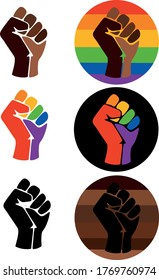 Symbol of the LGBT community, a fist in a rainbow circle. Symbols of the movement for freedom of black people. Black lives matter. Movement for freedom and equality. Flat vector illustration.
