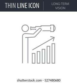 Symbol of Long-term Vision Thin line Icon of Global Business. Stroke Pictogram Graphic for Web Design. Quality Outline Vector Symbol Concept. Premium Mono Linear Beautiful Plain Laconic Logo