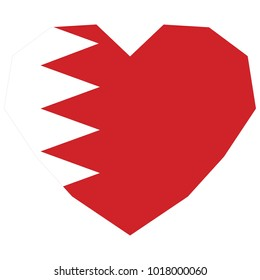symbol of love for his country. icon for Independence Day. Flag of Bahrain in the shape of Heart. eps 10 vector. detailed illustration of a grungy heart with patriotic Bahrain flag.