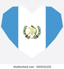 symbol of love for his country. icon for Independence Day. Flag of Guatemala in the shape of Heart. eps 10 vector. detailed illustration of a grungy heart with patriotic Guatemala flag.