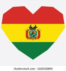 symbol of love for his country. icon for Independence Day. Flag of Bolivia in the shape of Heart. eps 10 vector. detailed illustration of a grungy heart with patriotic Bolivia flag.