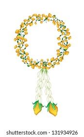 A Symbol of Love and Luxury, An Illustration of Beautiful Flower Garland with Yellow Padauk Flower or Papilionoideae Flower and Jasmine Flower, The Garland in Thai Tradition Style