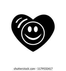 Symbol of love. Valentines day. Smiley face icon, emoji in heart. Flat style vector for websites blogs graphic design, logo. Have a happy day. Goodwill.
