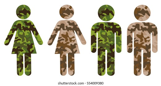 Symbol of man or woman as soldier and combatant of armed force. Wearing camouflage uniform and military service in army.