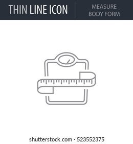 Symbol of Measure Body Form Thin line Icon of Fitness And Sport. Stroke Pictogram Graphic for Web Design. Quality Outline Vector Symbol Concept. Premium Mono Linear Beautiful Plain Laconic Logo
