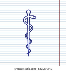 Symbol of the Medicine. Vector. Navy line icon on notebook paper as background with red line for field.