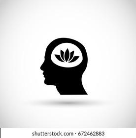Symbol of meditating man icon vector