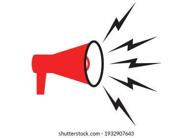 Symbol of megaphone. Red icon of loudspeaker. Concept of news, announce, propaganda, promotion, broadcast, media, message. Vector illustration isolated on white background.