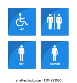 Symbol for men, women, people with disabilities, toilet sign, restroom icons. Design by Inkscape.