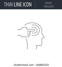 Symbol of Mind Trigger. Thin line Icon of Human Personality And Traits. Stroke Pictogram Graphic for Web Design. Quality Outline Vector Symbol Concept. Premium Mono Linear Beautiful Plain