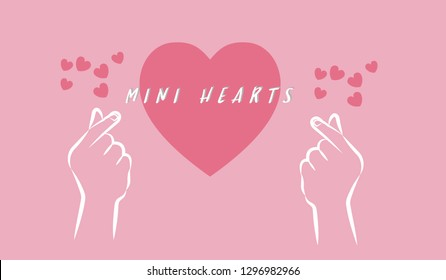 Symbol of mini heart valentines day design with background. Vector- illustration