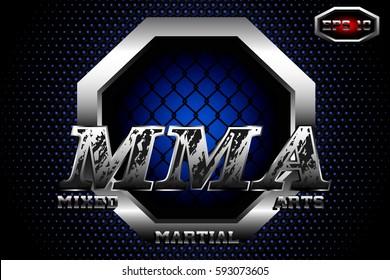 A symbol of Mixed martial arts,vector logo,steel cage