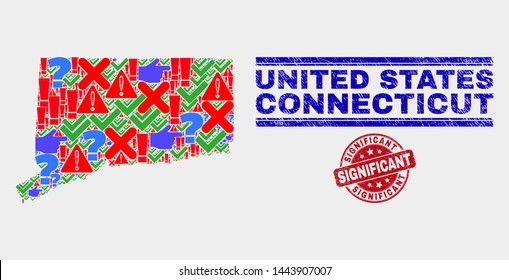 Symbol Mosaic Connecticut State map and seal stamps. Red rounded Significant textured seal. Colorful Connecticut State map mosaic of different scattered items. Vector abstract combination.