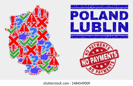 Symbol Mosaic Lublin Voivodeship map and stamps. Red round No Payments grunge watermark. Bright Lublin Voivodeship map mosaic of different scattered icons. Vector abstract combination.