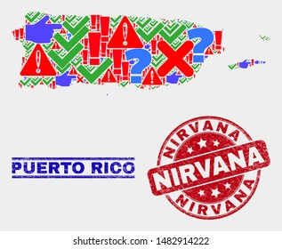 Symbol Mosaic Puerto Rico map and seal stamps. Red round Nirvana distress seal stamp. Bright Puerto Rico map mosaic of different randomized icons. Vector abstract collage.