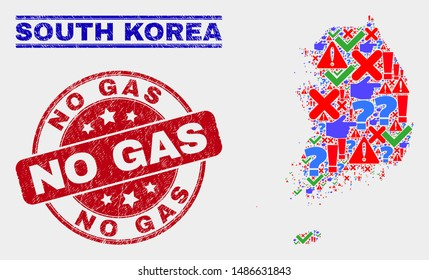 Symbol Mosaic South Korea map and watermarks. Red rounded No Gas grunge seal stamp. Colorful South Korea map mosaic of different random icons. Vector abstract composition.