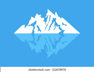 Symbol of a mountain with reflection