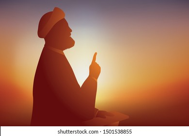 Symbol of the Shi'ite Muslim religion with an Ayatollah who prays and preaches in front of his followers by holding out his finger.