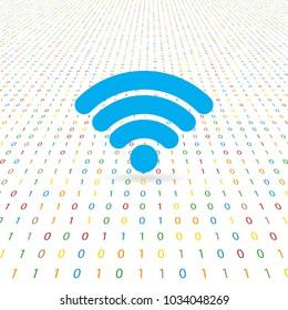 Symbol of network wifi on a digital background. Vector illustration .
