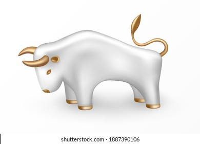 Symbol of the New Year 2021 - sign of the White Metal Bull on Chinese lunar calendar. Isolated white bull with gold parts. 3d icon and logo. Realistic glass porcelain figurine of cow or ox. Vector