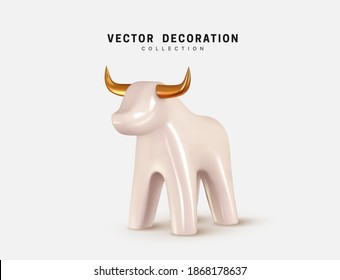 The symbol of the New Year 2021 will be held under the sign of the White Metal Bull. Bull isolated 3d icon and logo. Realistic glass porcelain figurine of cow or ox. Vector illustration