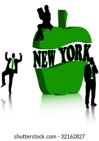 Symbol of New York, two business man and one business woman