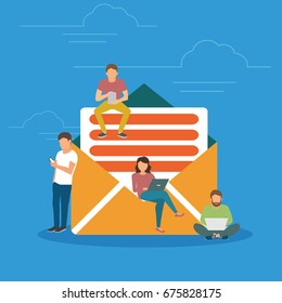 Symbol newsletter concept illustration of young people using mobile gadgets such as tablet pc and smartphone for e mails and newsletter. Flat design of guys and women near big mail newsletter symbol.