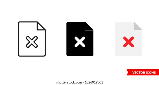 Symbol not found icon of 3 types: color, black and white, outline. Isolated vector sign symbol.