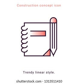 Symbol notepad line icon in modern style on white background. Design element. Vector button template. Pencil drawing. Education symbol. Note vector emblem. Notebook linear badge.