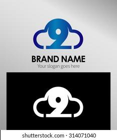 Symbol Number nine 9 logo icon template