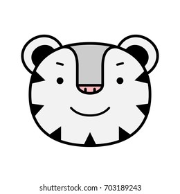 Symbol Olympic Winter Games PyeongChang 2018. Animal of emoticons, emoji isolated on transparent background, vector illustration. Cartoon white tiger stickers emoticons. Tiger smile face emotions