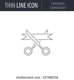 Symbol of Opening Ceremony Thin line Icon of Global Business. Stroke Pictogram Graphic for Web Design. Quality Outline Vector Symbol Concept. Premium Mono Linear Beautiful Plain Laconic Logo